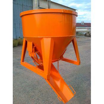 Koš na beton typ 1091S - středová výpust se skluzavkou, ovládání pákou